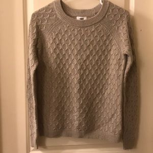 Tan crew neck cable knit sweater